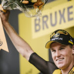 Mike Teunissen in yellow stage one Tour de France 2019