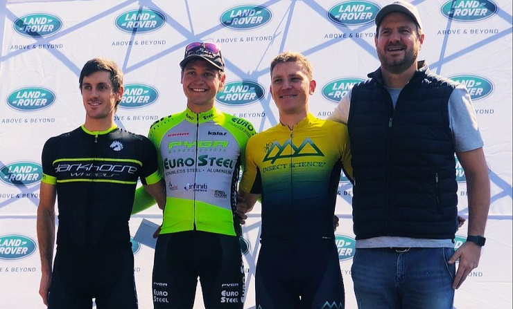 Pieter du Toit (second from left) won the Kgaswane MTB Race at the weekend