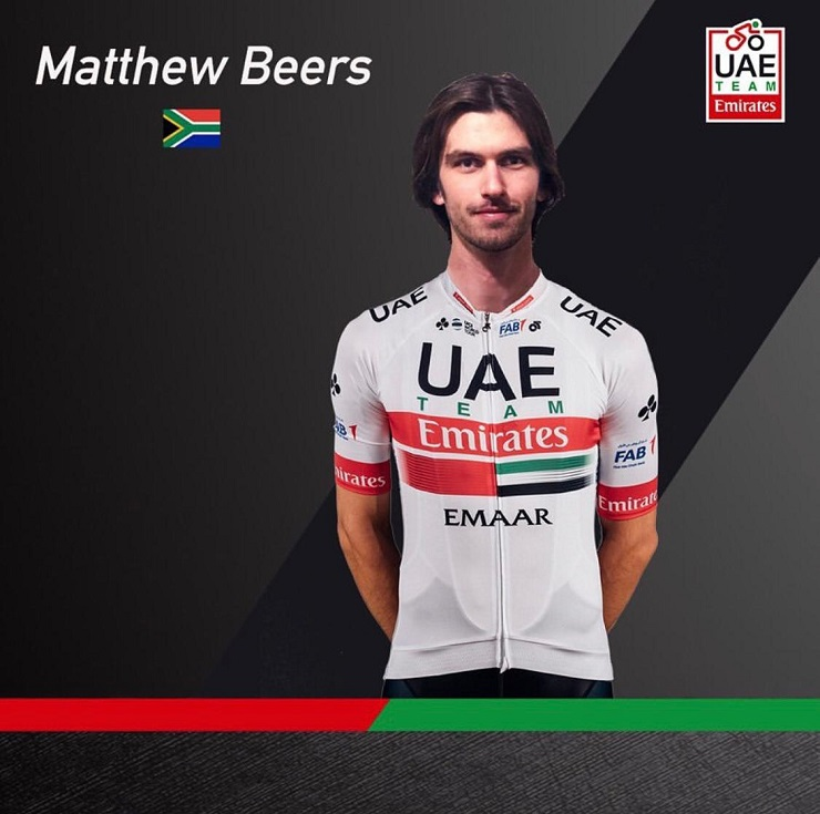 South African Matt Beers will ride as stagiaire with UAE Team Emirates