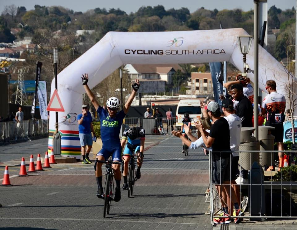 Steven van Heerden won the elite men's race at the Melrose Arch Criterium