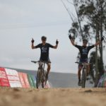 Nico Bell (left) and HB Kruger won the elite men's team race on stage three of the Cape Pioneer Trek