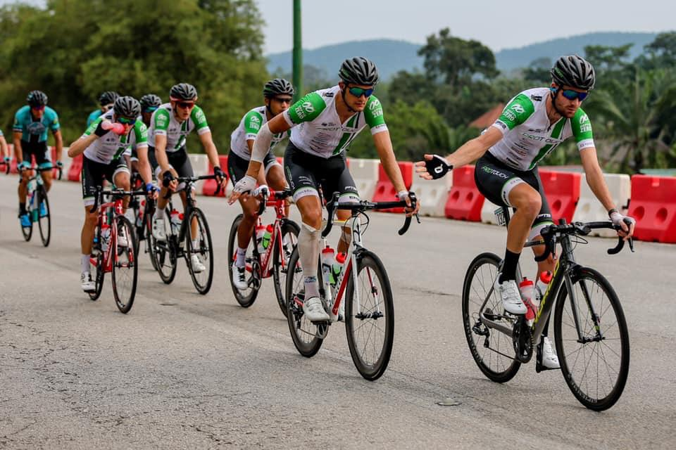 South African Kent Main (front) placed sixth overall at the Tour of Iran