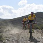 Matthys Beukes (front) and Philip Buys won the opening stage of the Berg & Bush 'Descent'