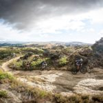 Team Giant Off-Road Australia make their move on the first climb out of Alexandra
