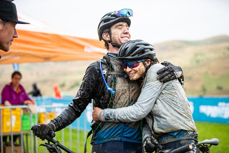 Brother and sister Michael and Holly Harris share an embrace after winning the mixed race on stage three of The Pioneer