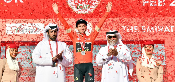 Adam Yates won stage three and took the red jersey at the UAE Tour