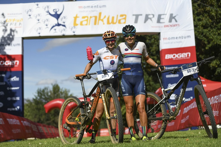 Candice Lill (right) and Mariske Strauss kicked off their partnership with a stage victory on day one of the Tankwa Trek