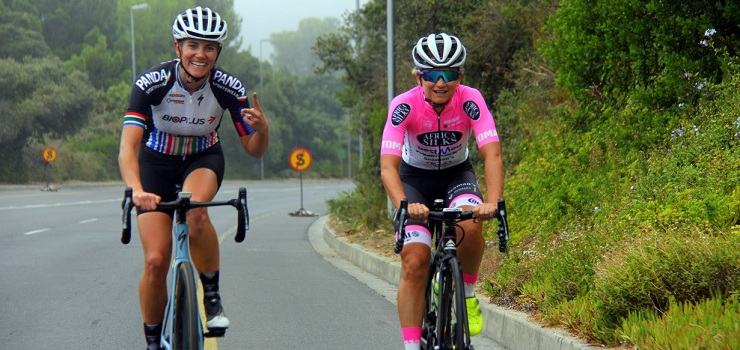 Seven-time Cape Town Cycle Tour champion Anriette Schoeman (right), alongside Cherise Willeit, who won her fifth title this year