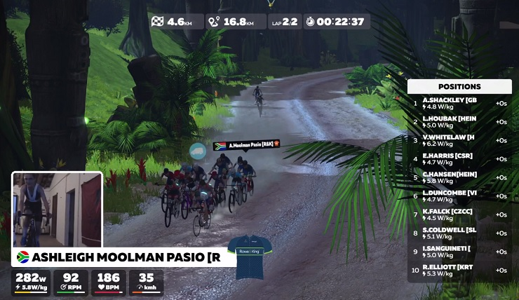Ashleigh Moolman Pasio finished third in the Watopia Cup virtual race tonight. Photo: Live stream/Zwift